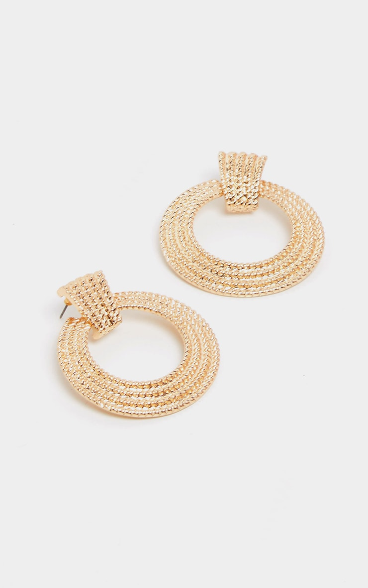 Gold Small Circle Rope Door Knocker Earrings 2