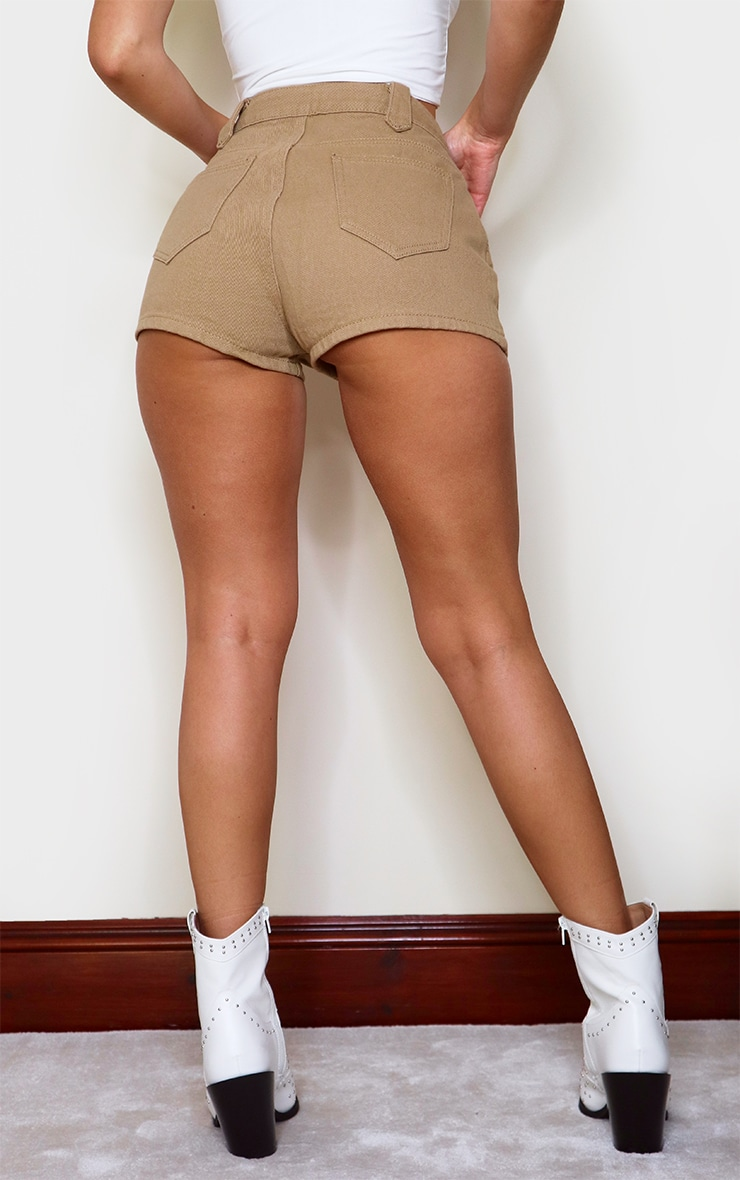 Tan Western Style Lace Up Shorts 3