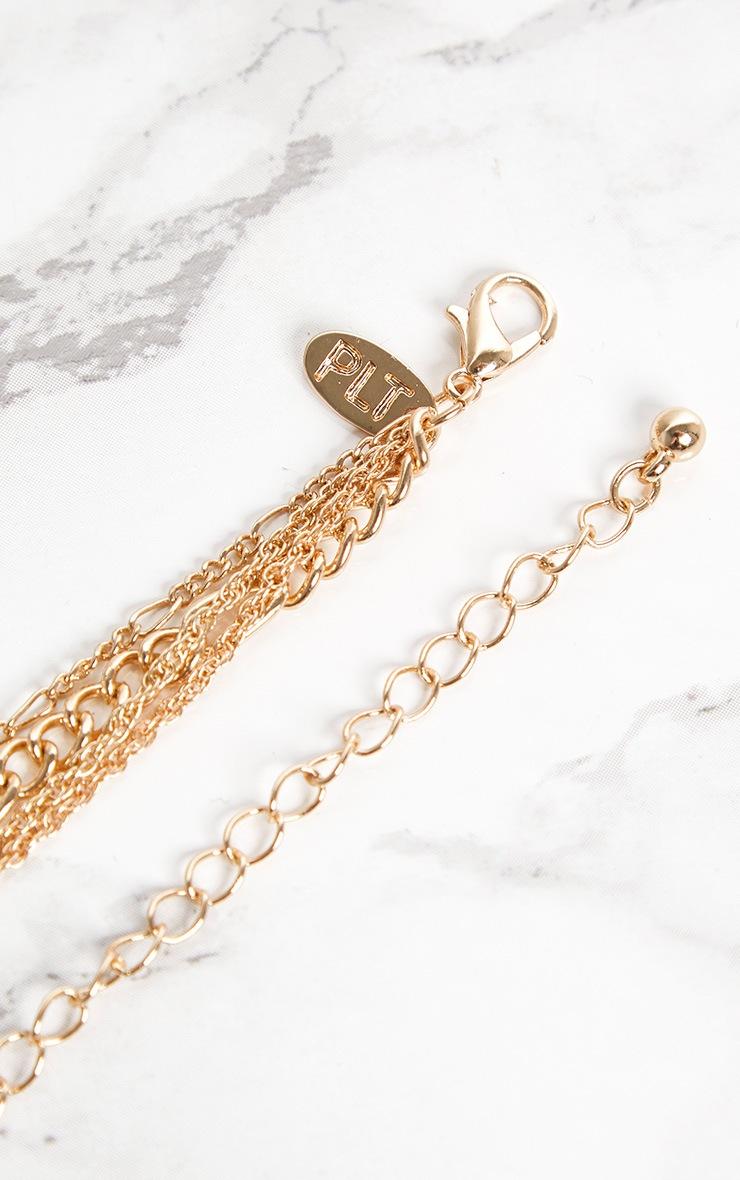 Gold Renaissance Mini Cross Coin Diamante Layered Necklace 4