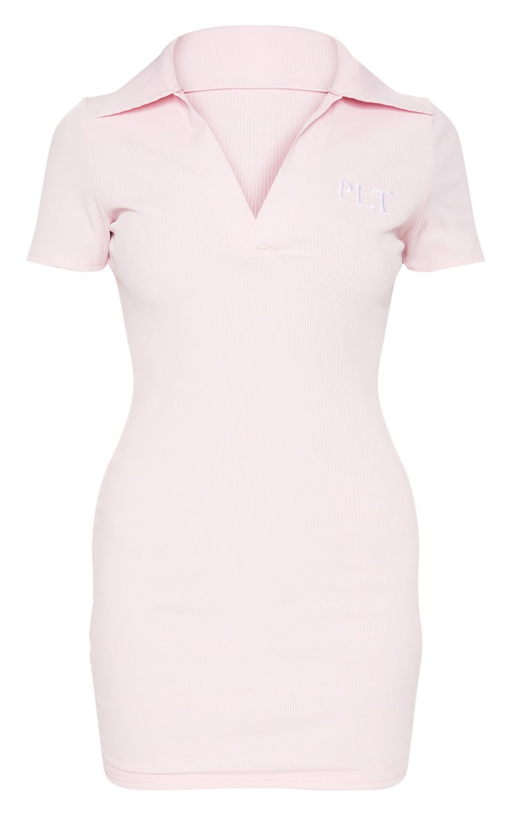 PRETTYLITTLETHING Pastel Pink Embroidered Collar Detail Bodycon Dress 3