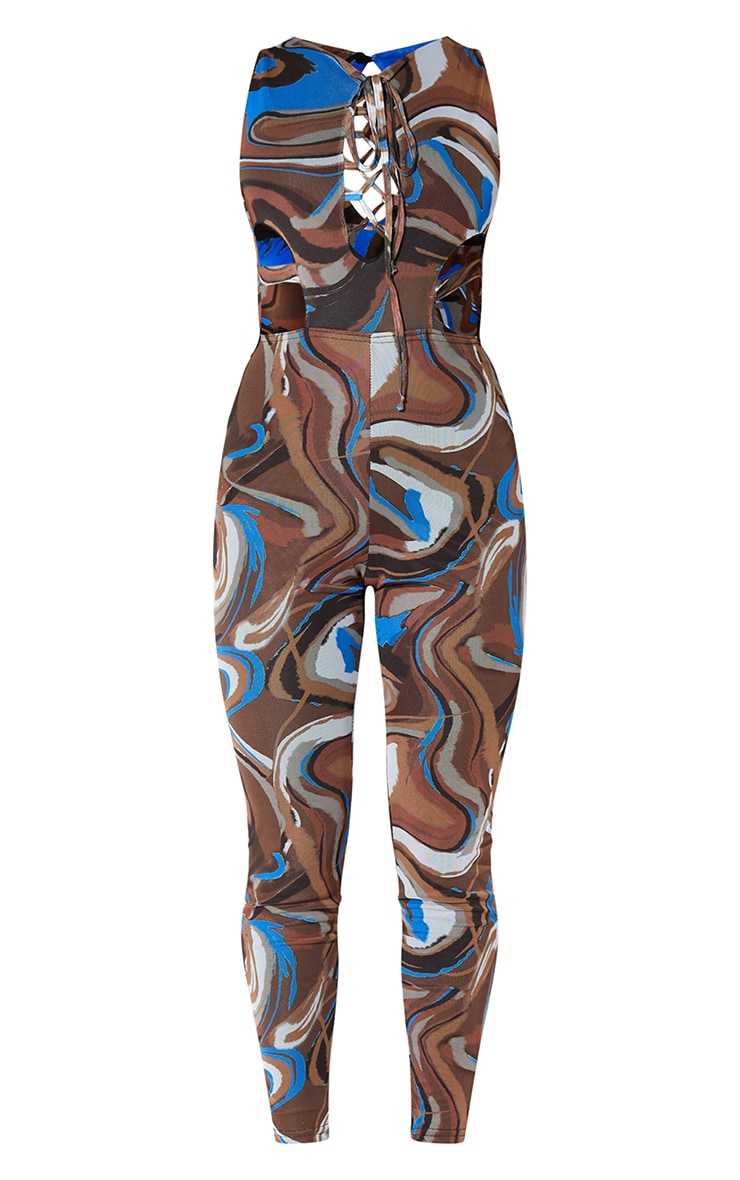 Chocolate Marble Print Mesh Lace Up Jumpsuit 5