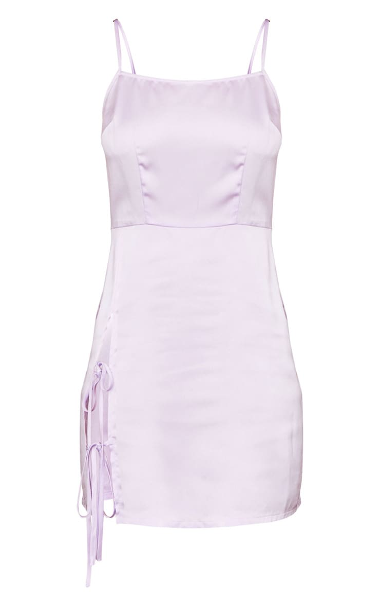 Lilac Strappy Satin Lace Up Detail Bodycon Dress 5