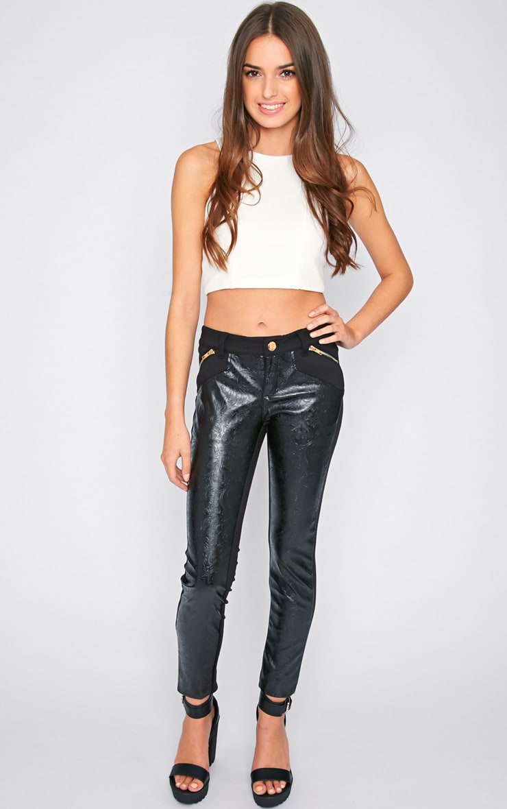 Sheree Black  Leather Panel Jeans With PU Floral Detail 5