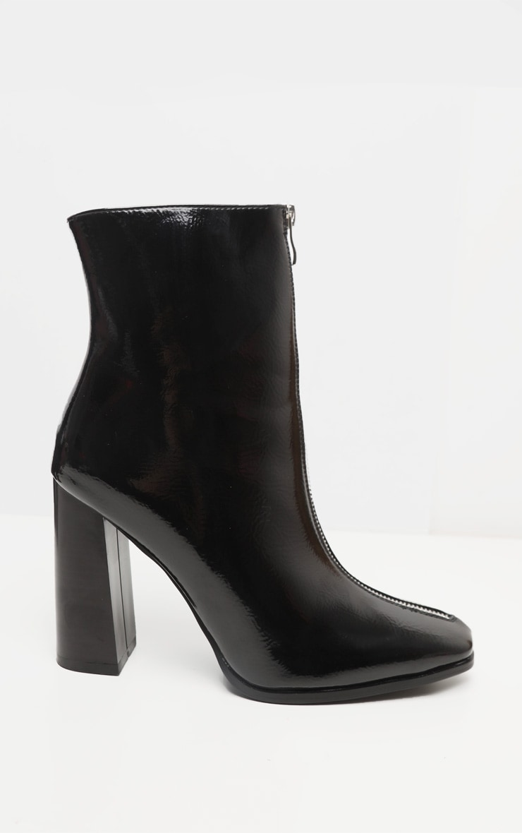 Black Zip Front Block Heel Ankle Boot 5