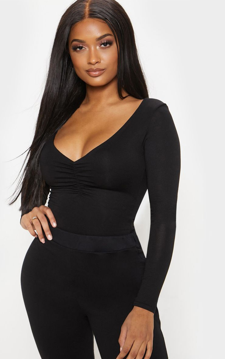 Shape Black Jersey Ruched Long Sleeve Bodysuit 1