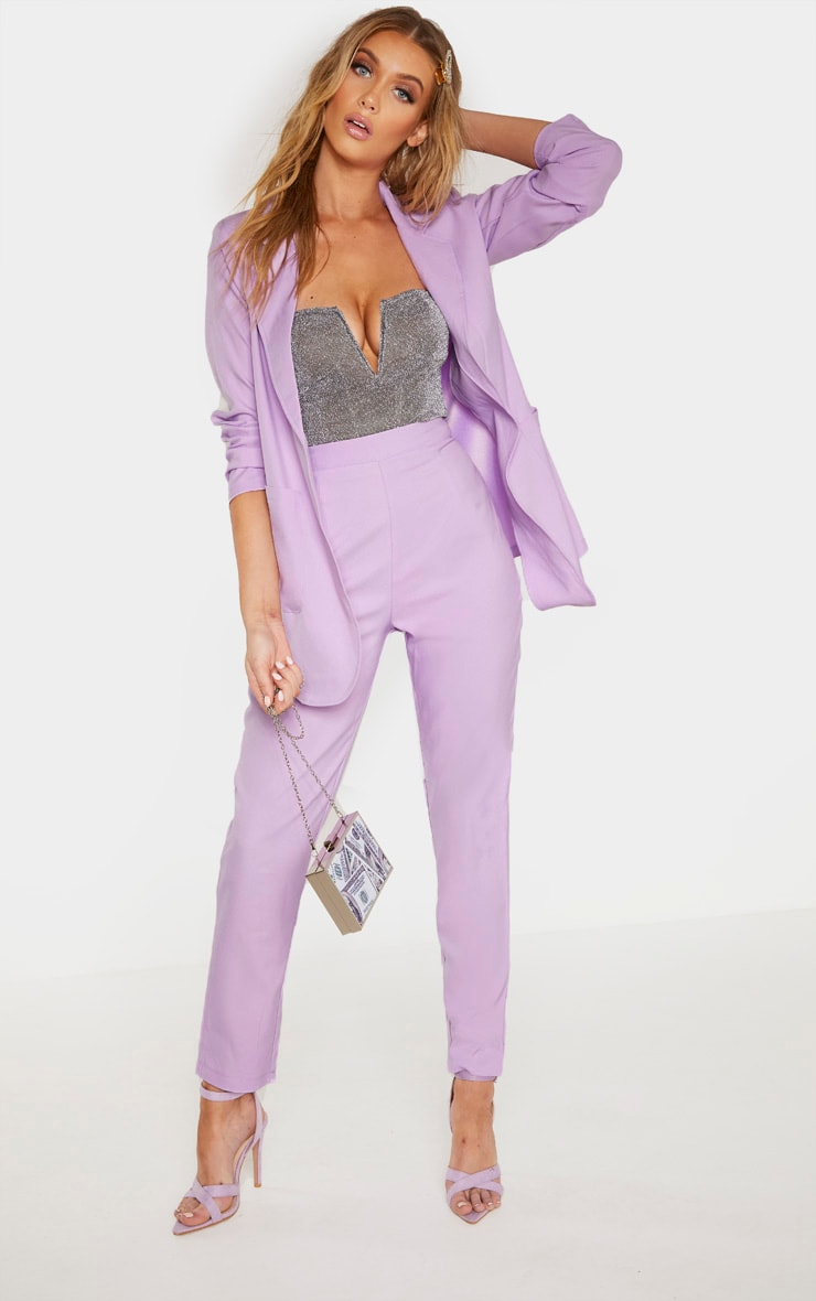 Tall Lilac Fitted Trousers 1
