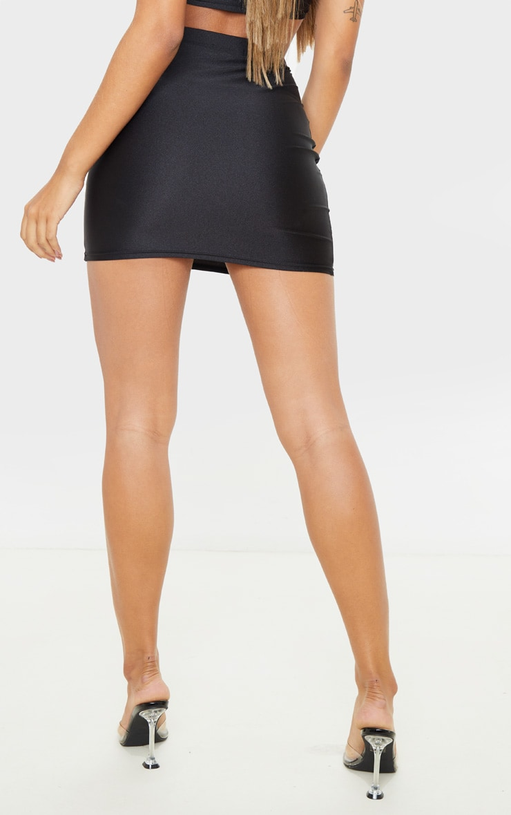 Black Disco Seam Front Mini Skirt 4