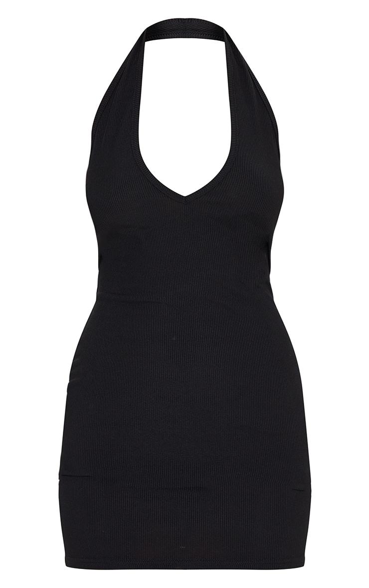 Black Ribbed Halterneck Low Back Bodycon Dress 5