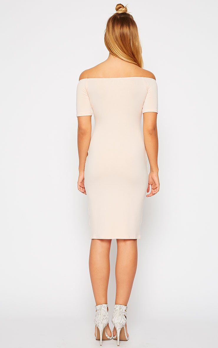 Caty Nude Jersey Bardot Midi Dress 2