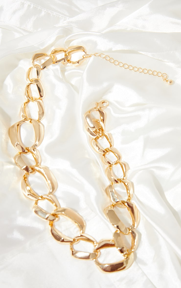 Gold Round Assorted Circle Chain Necklace 3