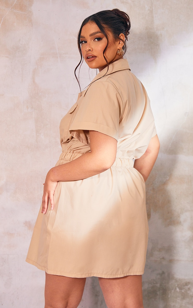 Plus Stone Utility Elastic Waist Button Up Shirt Dress 2