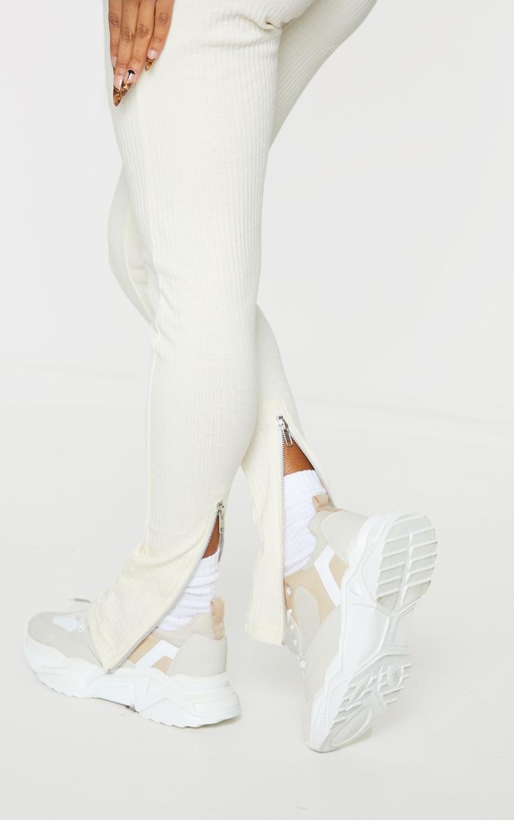 Shape Cream Rib Zip Hem Leggings 4