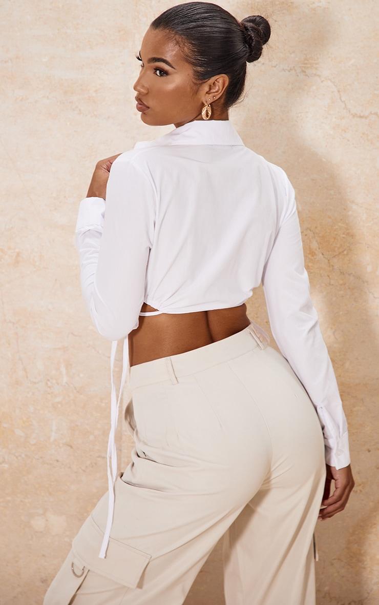 White Cotton Drawstring Side Crop Shirt 2