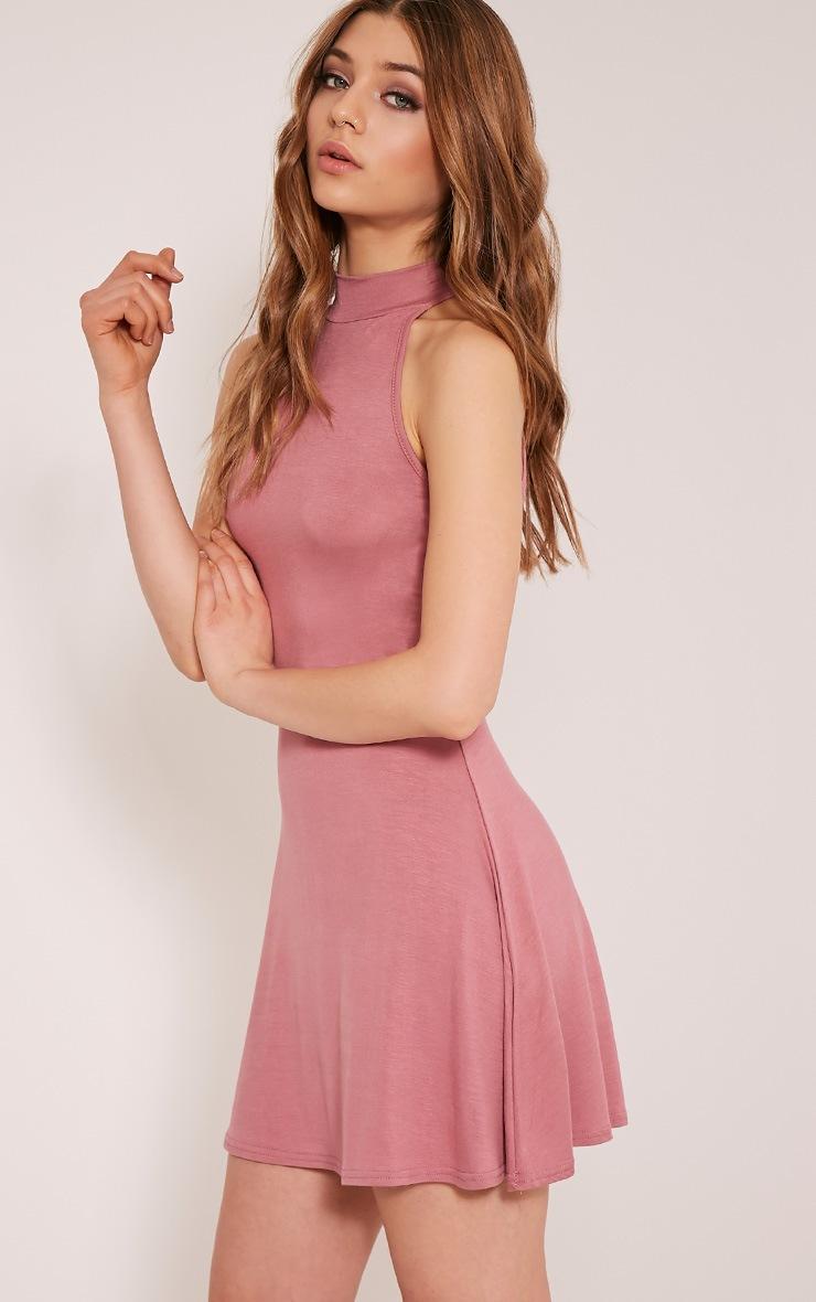 Basic Rose High Neck Jersey Skater Dress 4