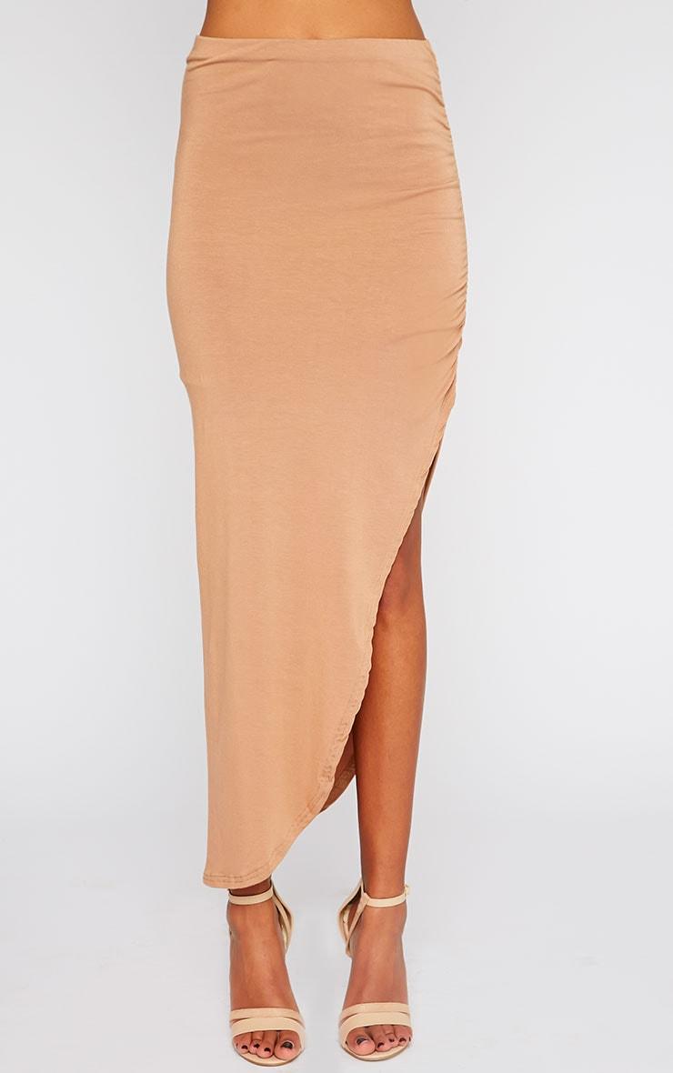 Etta Camel Ruched Jersey Maxi Skirt 2