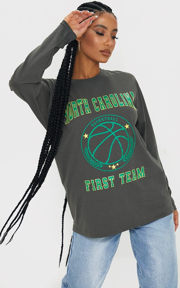 Grey North Carolina First Team Print Long Sleeve T Shirt 1