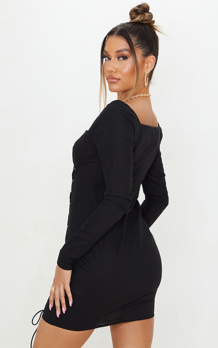 Black Woven Double Lace Up Long Sleeve Bodycon Dress 2