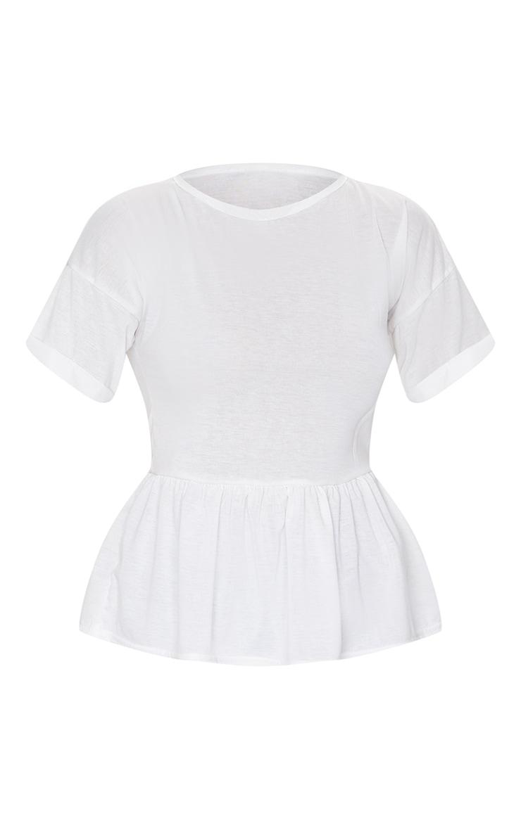 White Frill Hem T Shirt 5