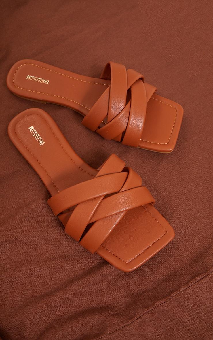 Tan PU Toe Basket Weave Mule Sandals 3