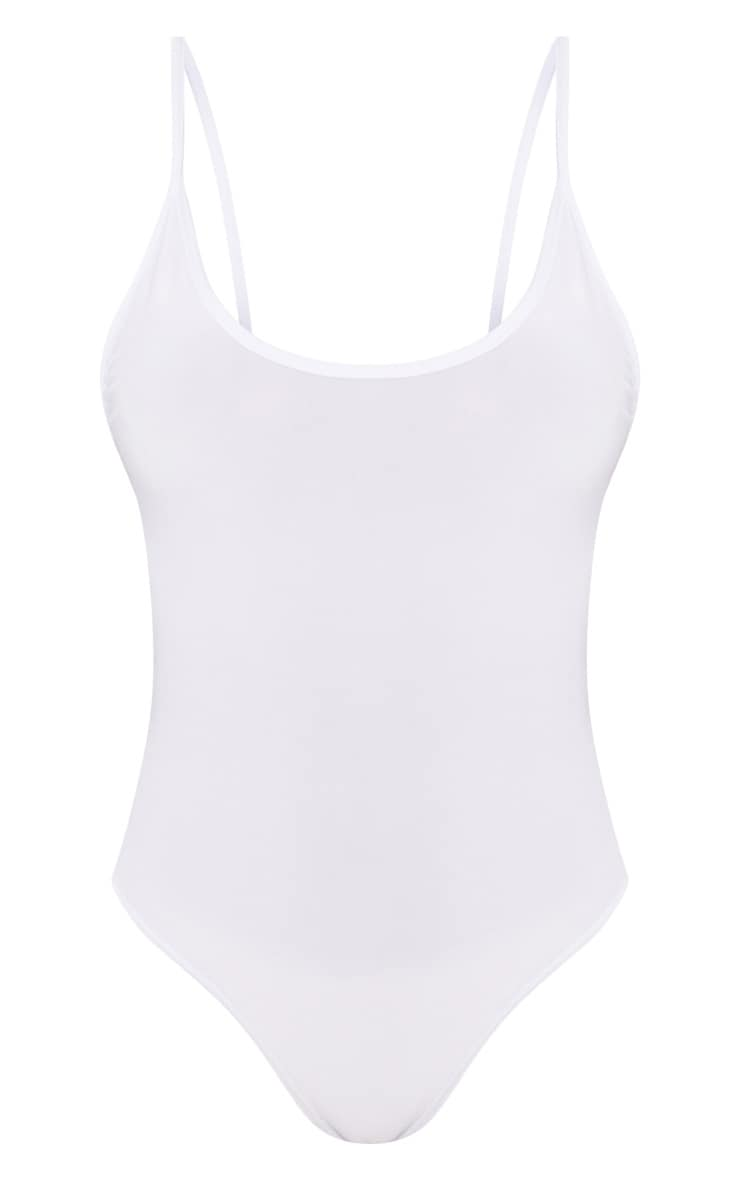 Shape White Strappy Scoop Back Bodysuit 3