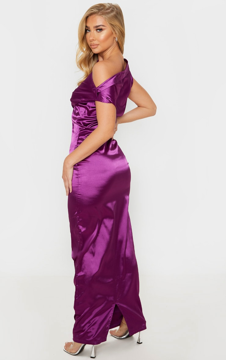 Purple Off Shoulder Pleat Detail Satin Maxi Dress 2