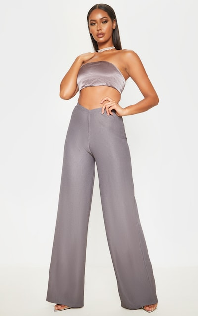Charcoal Pleated Detail Wide Leg Trousers
