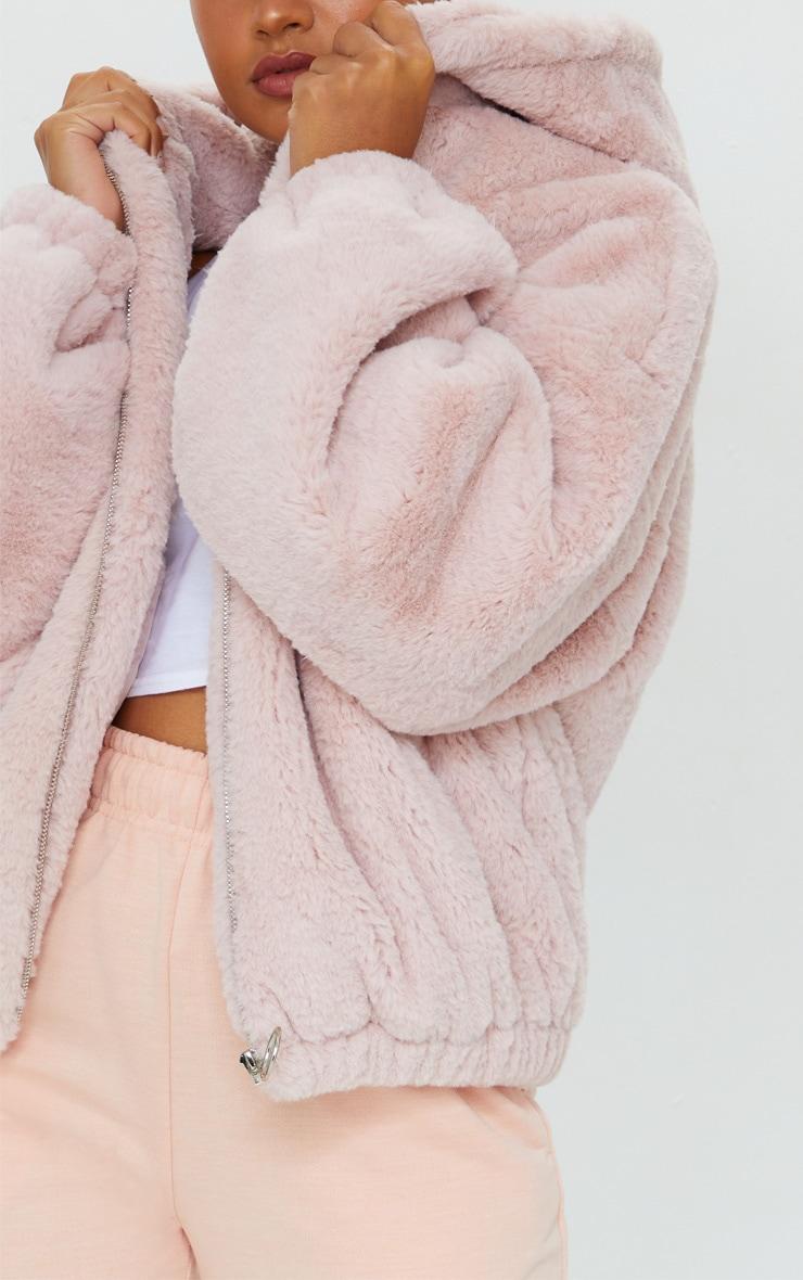 Petite Pink Faux Fur Balloon Sleeve Hooded Jacket 4