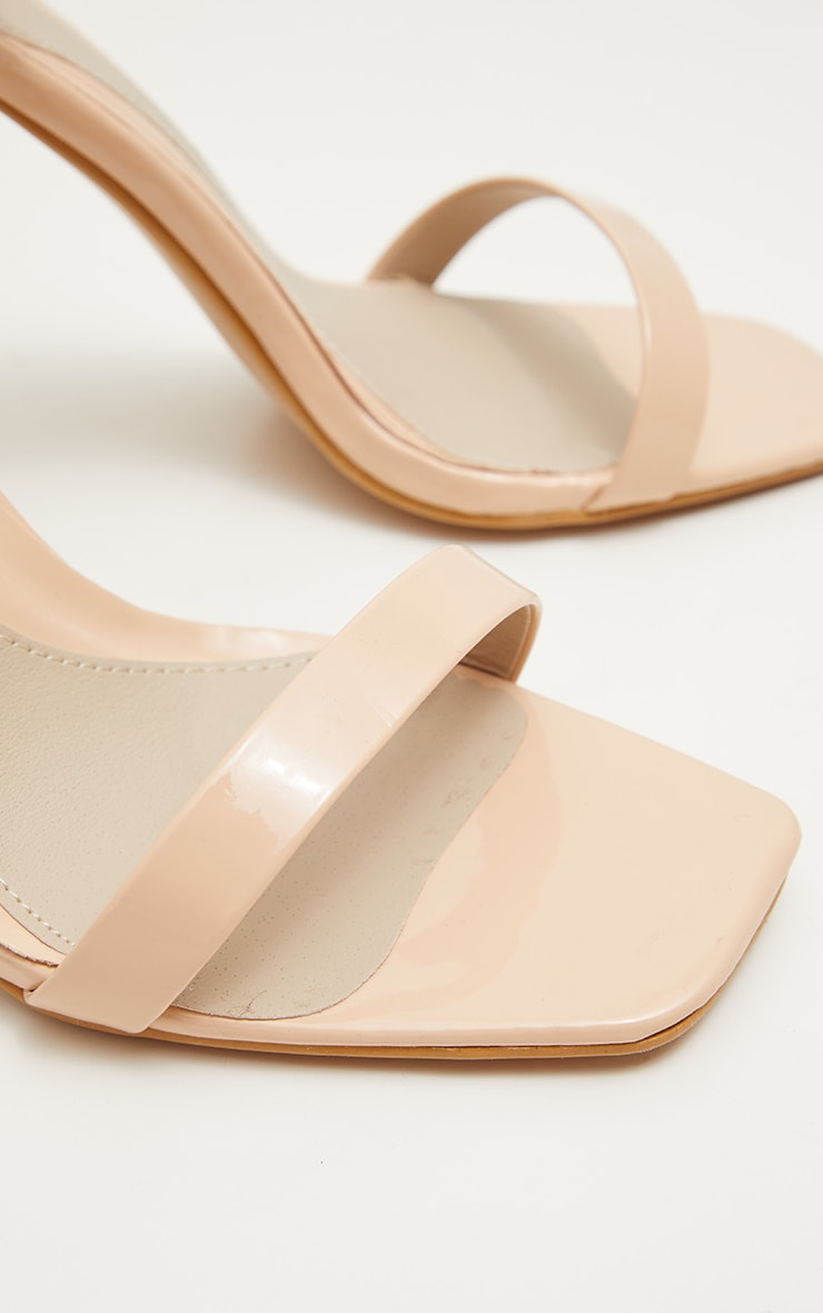 Sandales nude carrées à talons plats 4