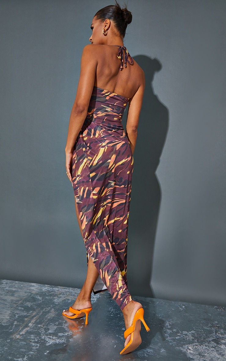 Multi Abstract Animal Slinky Cowl Neck Cut Out Maxi Dress 2