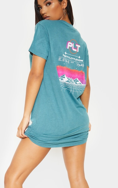 3d8465b1 PRETTYLITTLETHING Teal Mountain Slogan Oversized T Shirt Dress