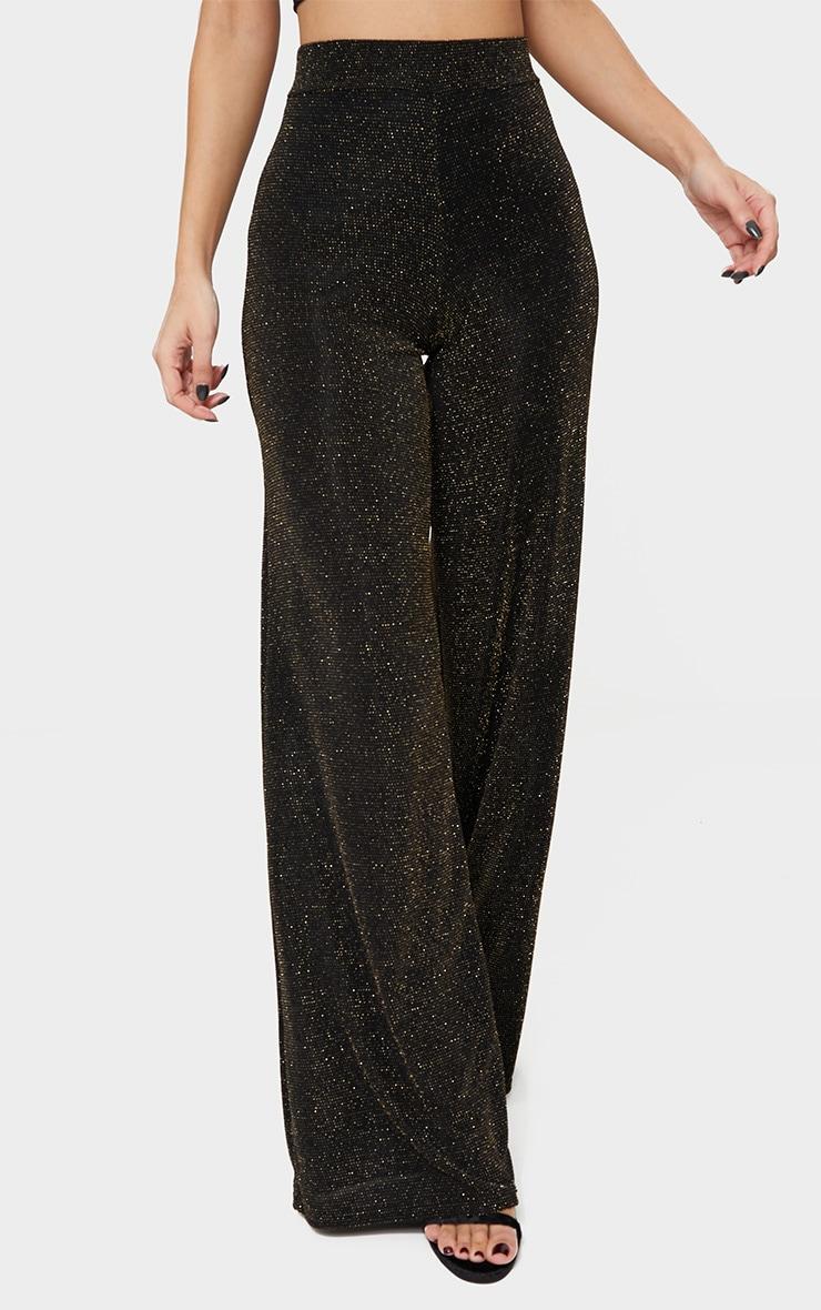 Black Glitter Wide Leg Trousers  2