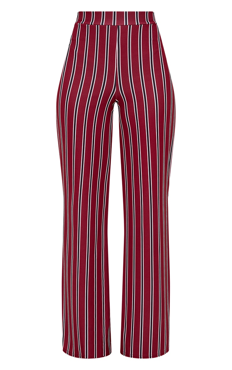 Petite Burgundy Stripe Flared Suit Trousers 3