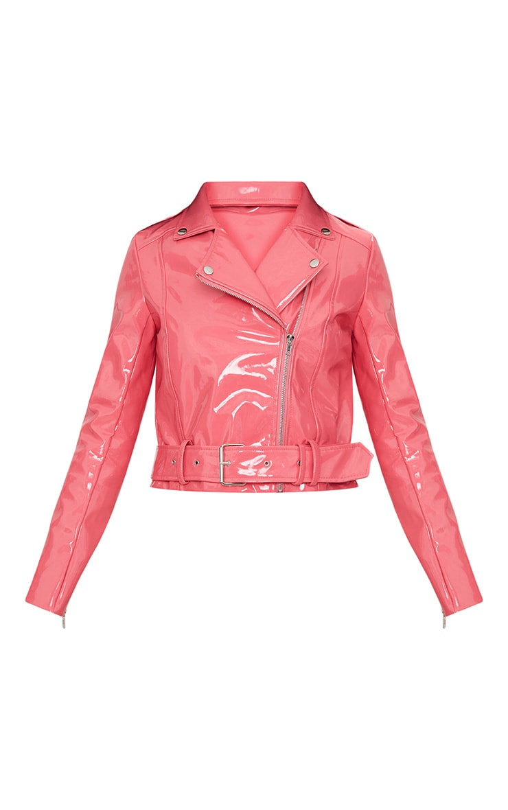 Pink High Shine Vinyl Biker Jacket 3