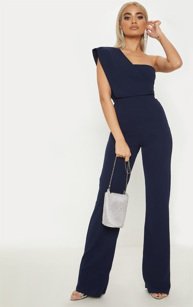 Petite Navy Drape One Shoulder Jumpsuit 1