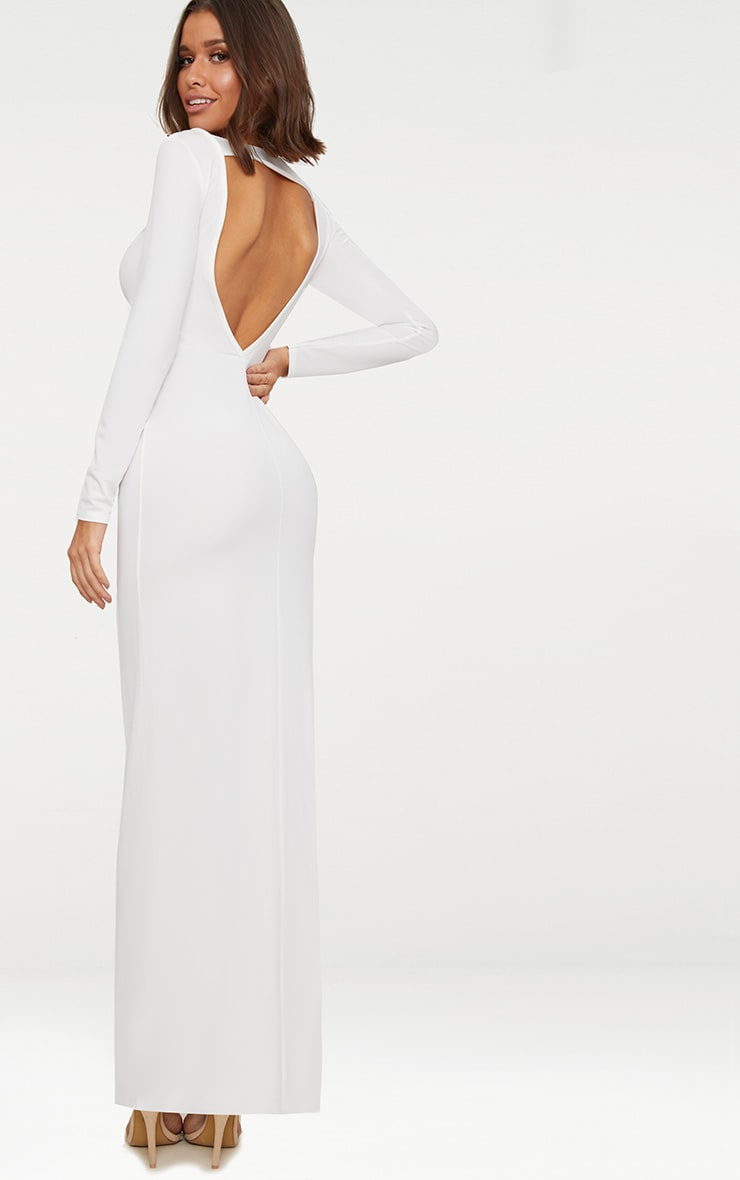c5a6190a7 White Backless Strap Detail Long Sleeve Maxi Dress image 1