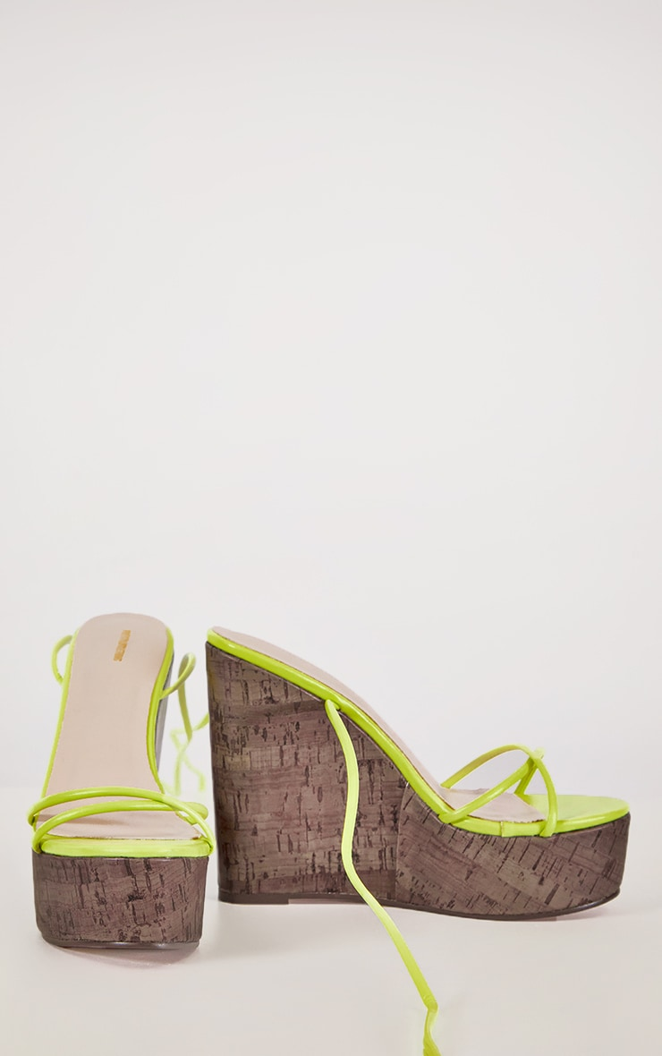 Lime Lace Up Cork Wedge 3