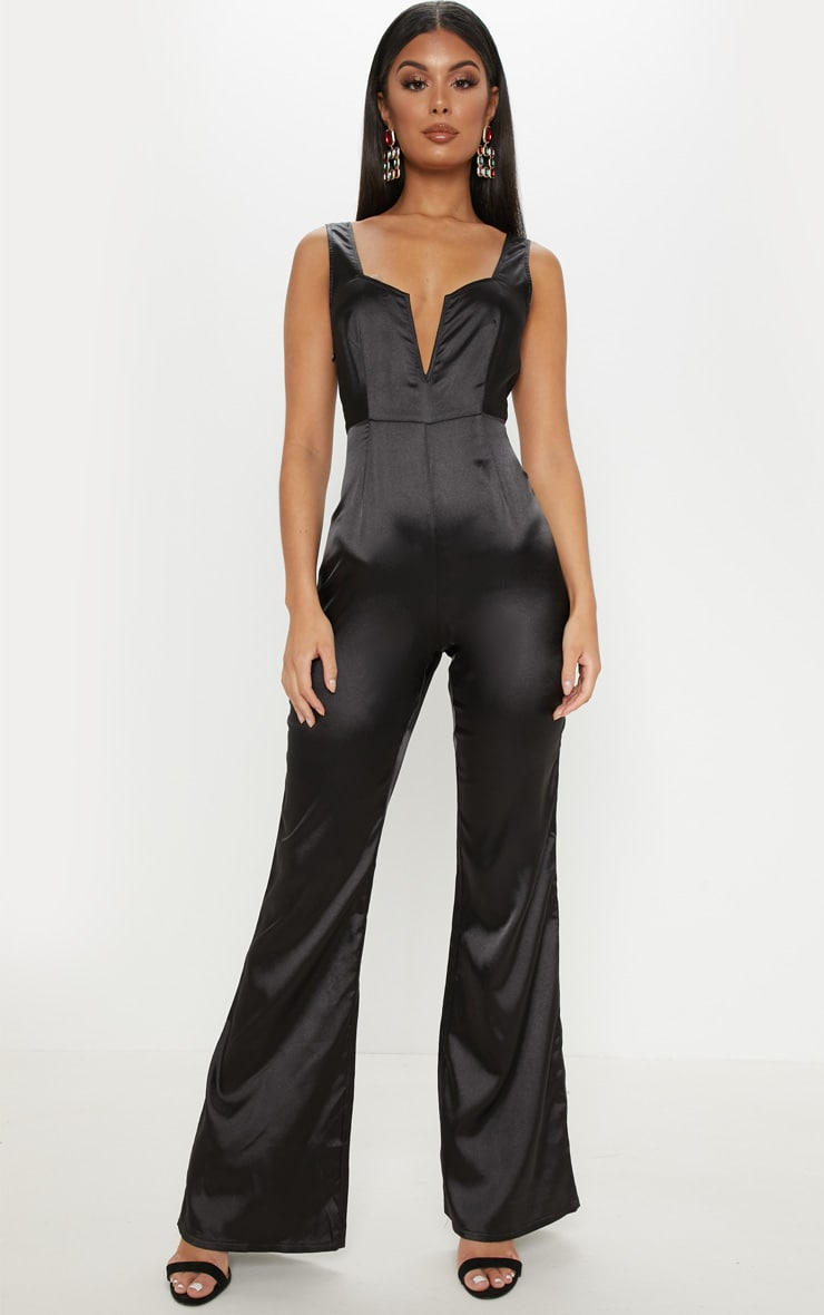 Black Satin V Bar Wide Leg Jumpsuit 1