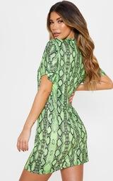 ed5a4714e68b8 Lime Snake Print T Shirt Dress | Dresses | PrettyLittleThing