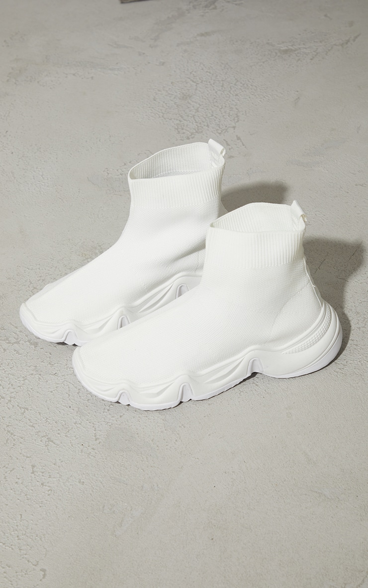 White Woven Wave Sole Sock Sneakers 4