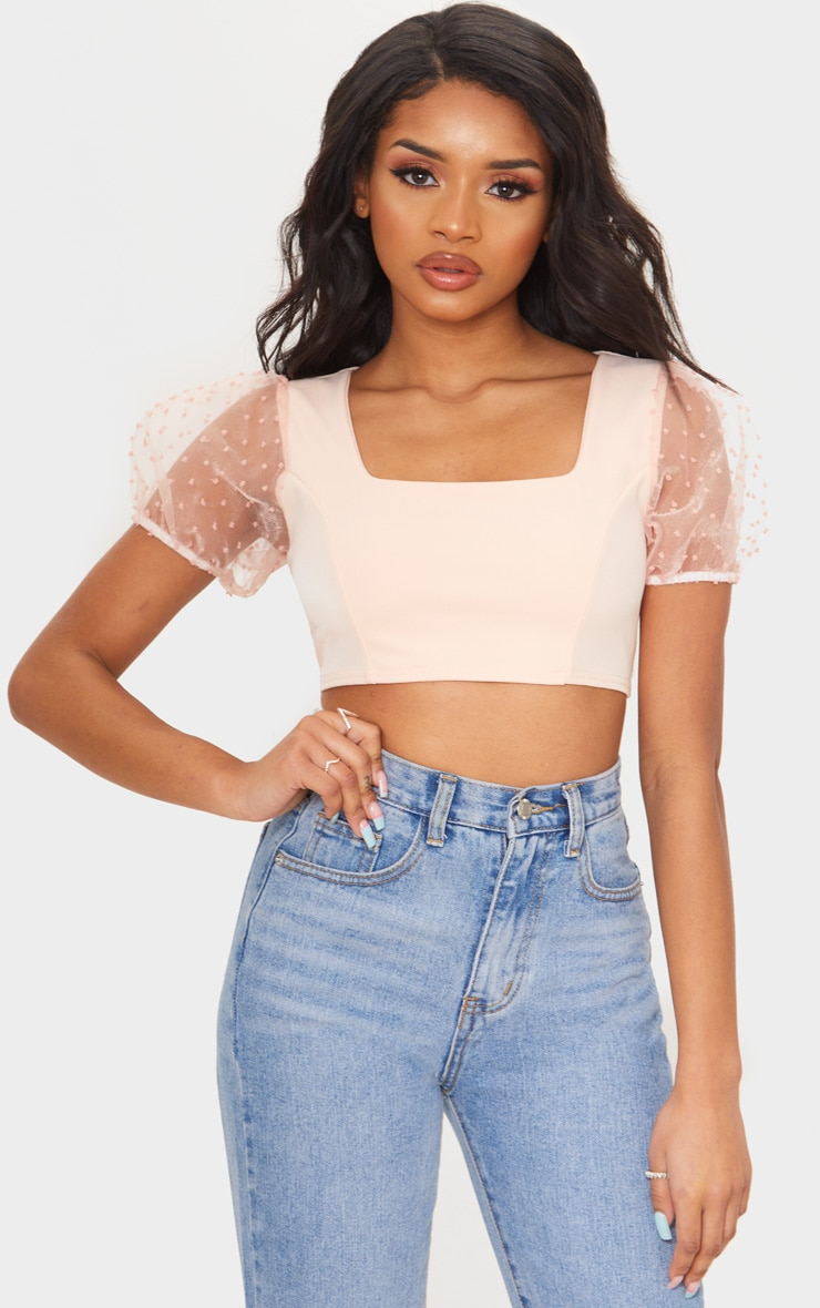 Petite Soft Baby Pink Organza Puff Sleeve Crop Top 1