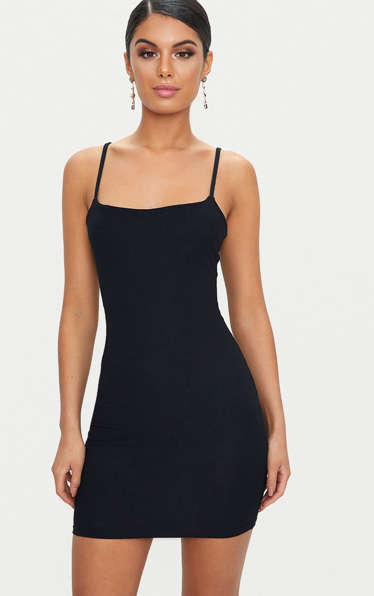 Black Strappy Straight Neck Bodycon Dress