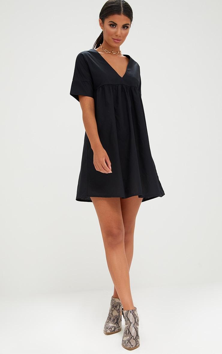 Black Poplin Smock Dress 4