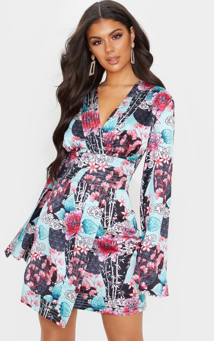 Pink Floral Oriental Print Satin Kimono Sleeve Wrap Detail Shift Dress 1