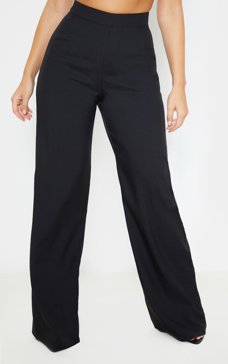 Black High Waisted Wide Leg Suit Trouser 2