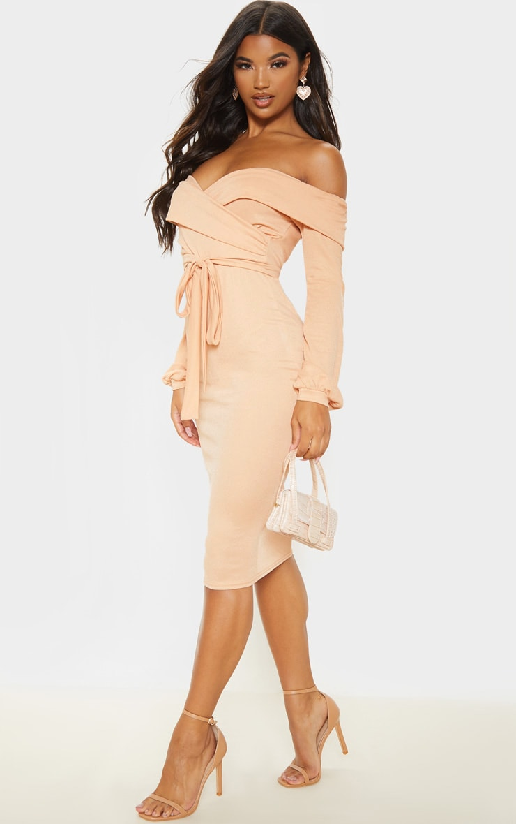 Fawn Long Sleeve Wrap Bardot Midi Dress 4