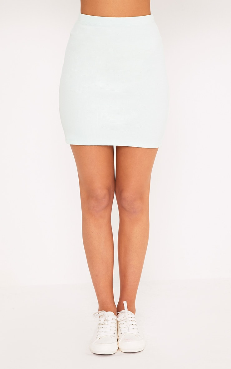 Steffy Mint Textured Mini Skirt 2