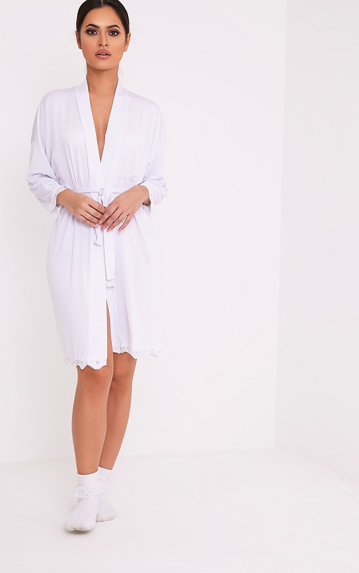 Bride White Slinky Dressing Gown 5