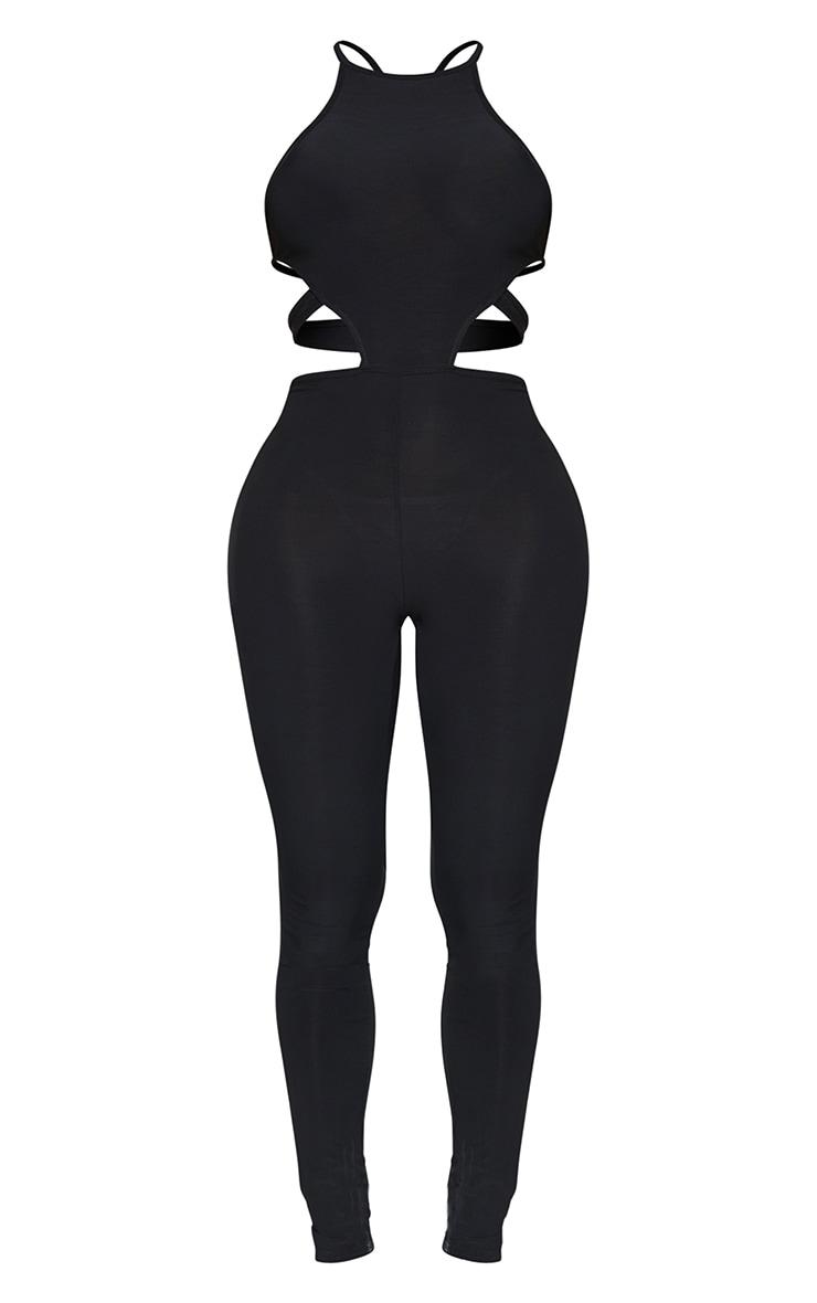 Shape Black Slinky Cut Out Tie Back Jumpsuit 5