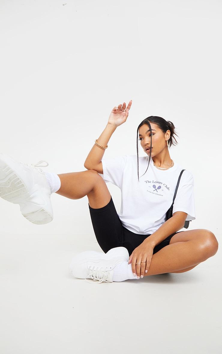 White The Leisure Club Printed T Shirt 3