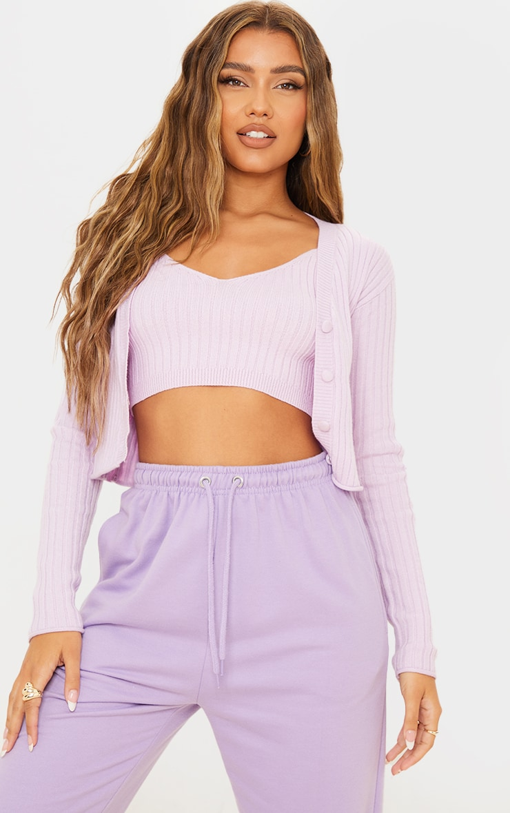 Lilac Soft Ribbed Knitted Button Up Cardigan 1